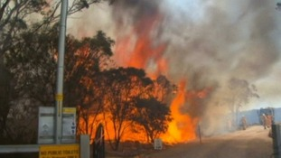 Firefighters battle the flames in Australia.