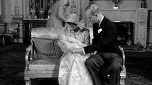 The Queen and Duke of Edinburgh with Princess Anne after her Buckingham Palace Christening on October 21, 1950.
