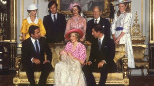 The Prince and Princess of Wales with Prince William and his godparents.