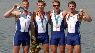 James Cracknell and the crew of the coxless fours celebrate their Olympic golds in Athens in 2004.