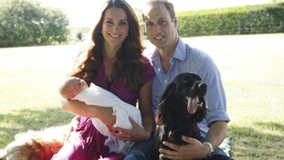 This picture, taken by Michael Middleton, shows the Duke and Duchess of York with their dog Lupo.