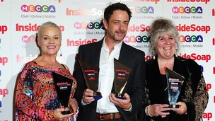 Lesley Dunlop, Dominic Power and Jane Cox with the 'Best Soap' award, at the 2013 Inside Soap Awards