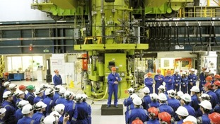 David Cameron delivers a speech to workers in the Charge Hall at Hinkley Point B