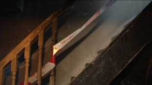 Fire damaged stairway