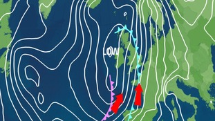 frontal pressure chart showing Tuesday's cold front