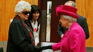 The Queen Elizabeth meets Lady Olivier, widow of Laurence Olivier