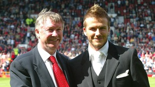 David Beckham with manger Sir Alex Ferguson in 2002