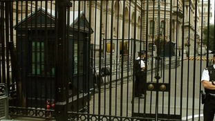 Officers stood at the gates of Downing Street