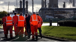 Grangemouth workers leaving the site after today's meeting