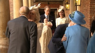 Prince George arrives for his christening