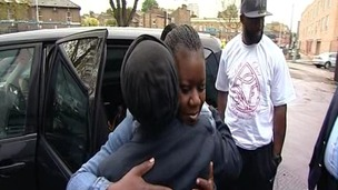 The mother of Stephen Lawrence embraces the mother of Trayvon Martin earlier