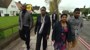 Doreen Lawrence walks with the Sybrina Fulton to the bus stop where Stephen was attacked