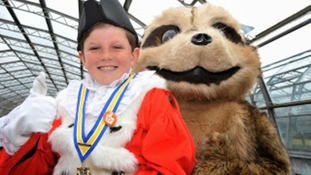 The Leeds Children's Mayor 2012-13 Oliver Larkin with 'Mango the Meerkat'