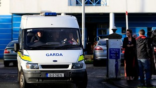 The Irish police, an Garda Siochana, seen at the Tallaght station the young Roma girl was held.