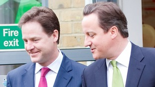 Deputy Prime Minister Nick Clegg and Prime Minister David Cameron.