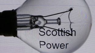 General view of a light bulb by the logo of power company ScottishPowe