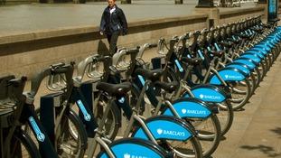 Boris Bikes seen on Albert Embankment, Vauxhall