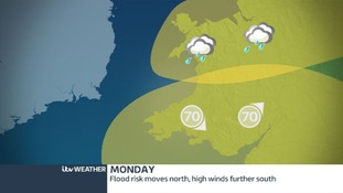 Strong winds in the south, heavy rain moves north