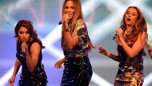 Vanessa White, Rochelle Humes and Una Healy of The Saturdays perform at a concert at RAF Northolt.