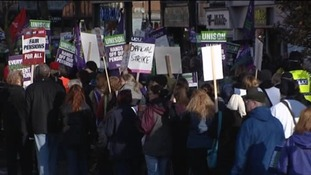 Unions protesting against pay and pension conditions