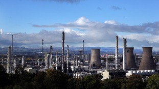 The giant Grangemouth oil refinery in Scotland