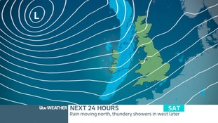 SATURDAY: Showery rain spreading eastwards