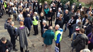The campaigners gathered in Derby today - many wearing badger-themed outfits
