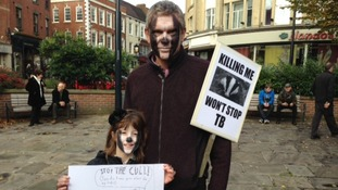 Two protesters 'badger up'