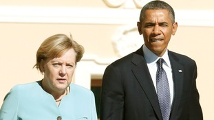 Angela Merkel and Barack Obama pictured together last month at the G20 summit in Russia