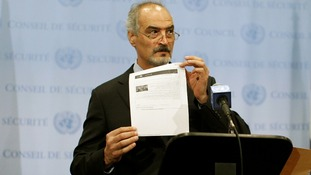 Syrian UN Ambassador Bashar Ja'afari last month in New York as Syria joined the global anti-chemical weapons treaty