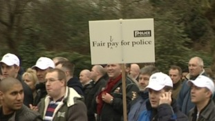 Police officers across the region are joining a protest march over budget cuts in London