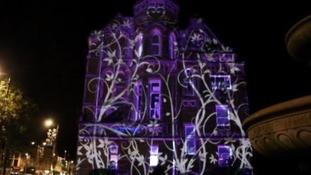 Spectators could watch as these 'vines' covered the building