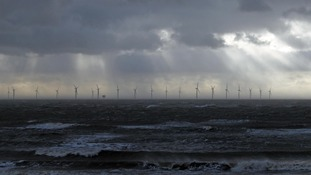 The storm lurks ominously on the horizon at Clacton-on-Sea.