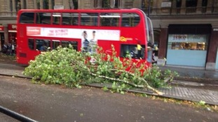 Debris in central London.