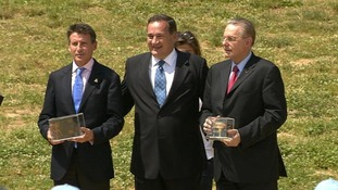 Lord Coe with Spyros Capralos and Jacques Rogge in Olympia, Athens.