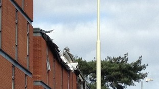 Travelodge roof damaged by the storm.