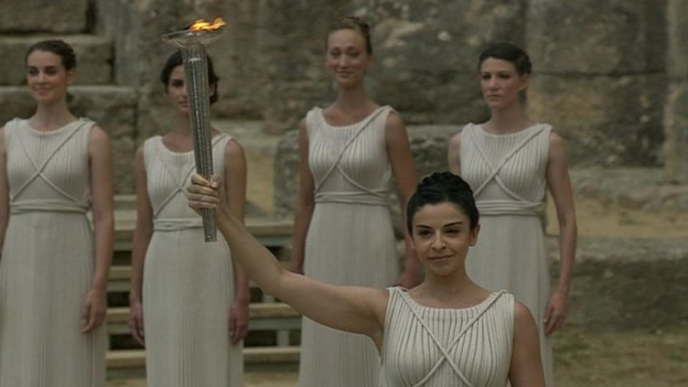 "The ""high priestess"" with the Olympic flame."