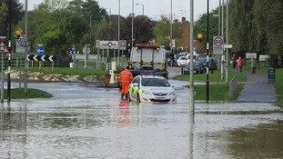 Storm causes flooding in Corby.