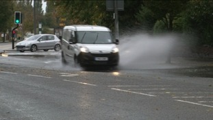 Standing water on the A57 into Lincoln