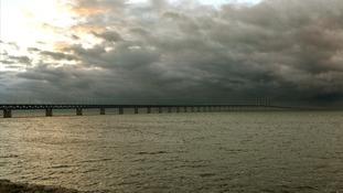 The Oresund Bridge between Sweden and Denmark, where St. Jude is due to hit next