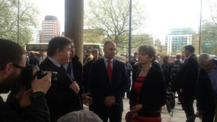 Police march: Yvette Cooper with Police Federation chair and officers
