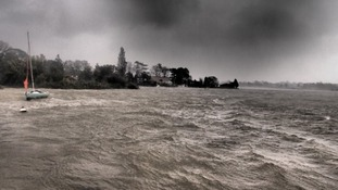 Stormy waters at Oulton Broad Bay in Suffolk this morning.