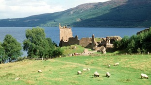 The view of Urquhart Castle on the bank of Loch Ness in Drumnadrochit, Scotland.