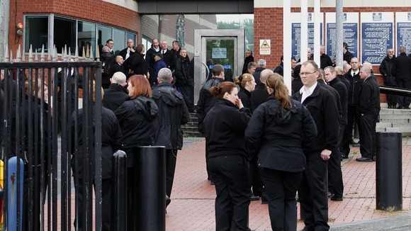 Prison officers outside HMP Manchester