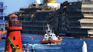 The Costa Concordia was recovered into an upright position last month