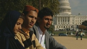Rafiq Rahman and his children outside the US Congress in Washington today.