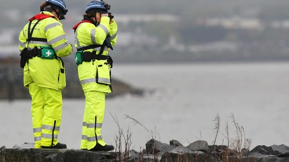HM Coastgurd search the coast of Belfast Lough, after a baby is believed to have fallen from a ferry