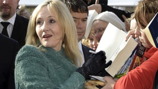 British Harry Potter author J.K. Rowling signs autographs in 2010