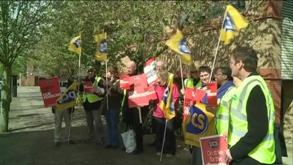 Public sector workers picket in Milton Keynes