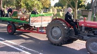 Vintage tractor procession in Bluntisham.